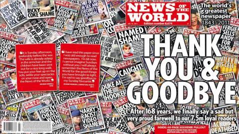Εξαντλήθηκε το τελευταίο φύλλο της «News of the World»