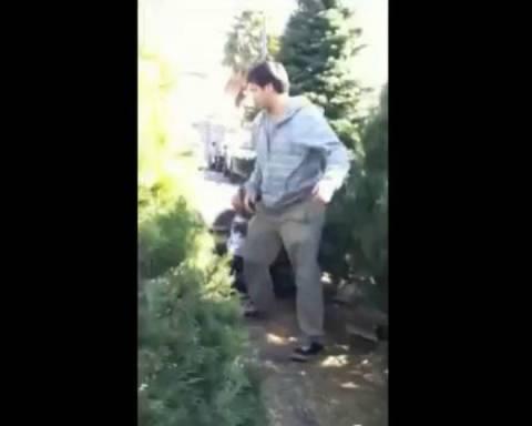Έριξε την κοπέλα του πάνω στο χριστουγεννιάτικο δέντρο!