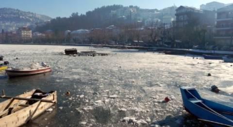 Εικόνες από την παγωμένη λίμνη της Καστοριάς