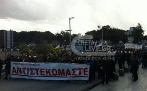 Επεισόδια στο Ηράκλειο Κρήτης από την απεργιακή πορεία