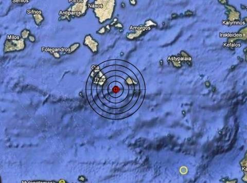 Σεισμός 3,4 Ρίχτερ μεταξύ Σαντορίνης και Ανάφης