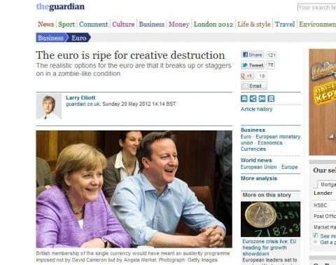 Guardian: Η ευρωζώνη είτε θα διαλυθεί είτε θα ζει σαν ζόμπι