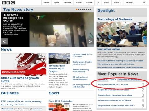 Τα χαστούκια του Κασιδιάρη δημοφιλέστερο θέμα στο BBC