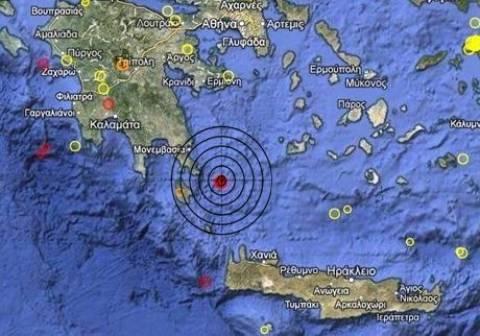 Σεισμός 3,9 Ρίχτερ ανατολικά των Κυθήρων