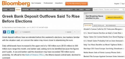 Bloomberg: Καθημερινά 100-500 εκατ. ευρώ φεύγουν στο εξωτερικό