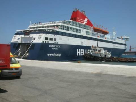 Τραυματισμός Πυροσβέστη και ρήγμα στο επιβατικό πλοίο «Νήσος Χίος»