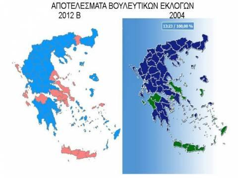 Ο εκλογικός χάρτης του 2004 και του 2012: Νικητές και χαμένοι