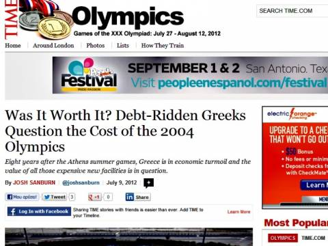 Time: Οι Έλληνες αναρωτιούνται αν άξιζαν οι Ολυμπιακοί του 2004