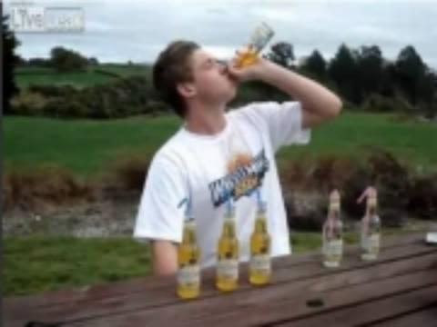Δείτε τι συμβαίνει αν πιείς 6 μπύρες σε 2 λεπτά; (vid)