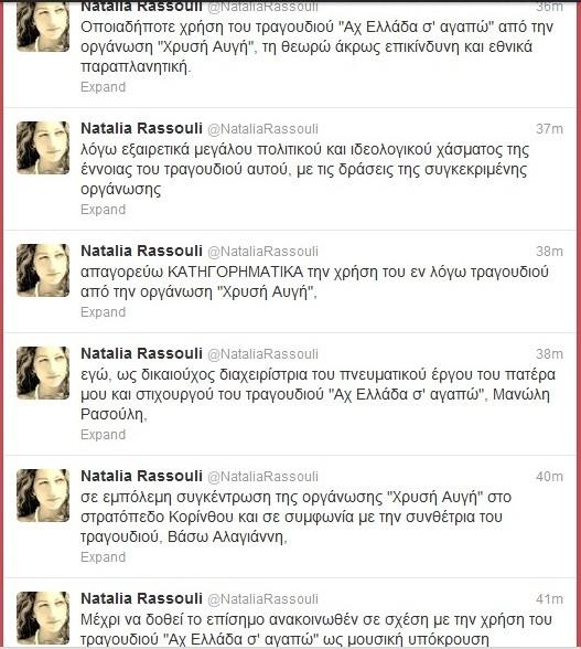 Το tweet της Ναταλίας Ρασούλη για τη Χρυσή Αυγή