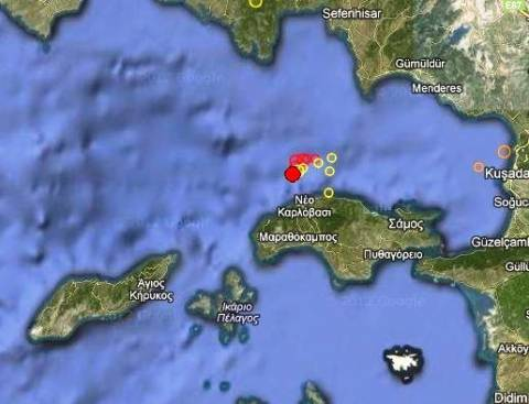 Σεισμός 3,3 Ρίχτερ βόρεια της Σάμου