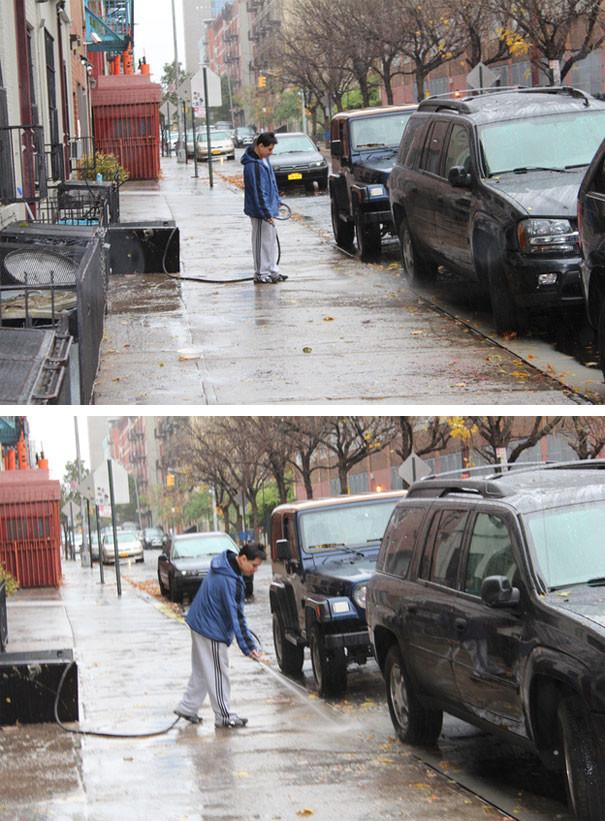 Δεν υπάρχει: Βγήκε μες στον τυφώνα για να... πλύνει το πεζοδρόμιο!