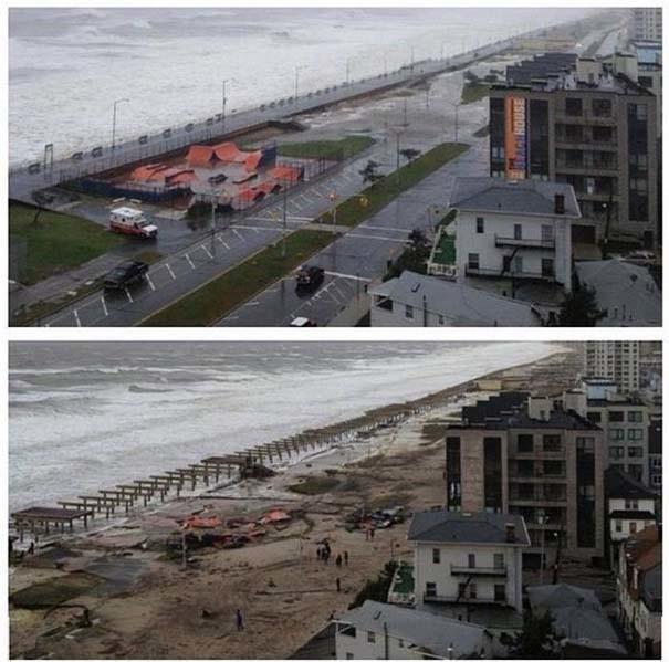 Εντυπωσιακές φωτογραφίες: Πριν και μετά τον τυφώνα Σάντι