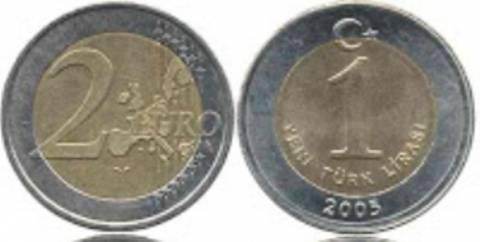 Η νέα τουρκική λίρα μοιάζει με το κέρμα των 2 ευρώ
