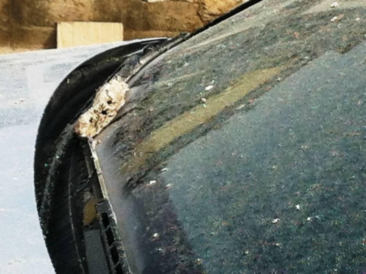 Πέταξαν βοθρολύματα στο αυτοκίνητο του Αηδόνη! (pics)