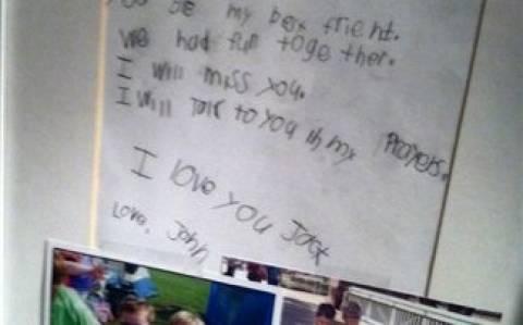 Κονέκτικατ: Το συγκινητικό γράμμα 6χρονου στον αδικοχαμένο φίλο του