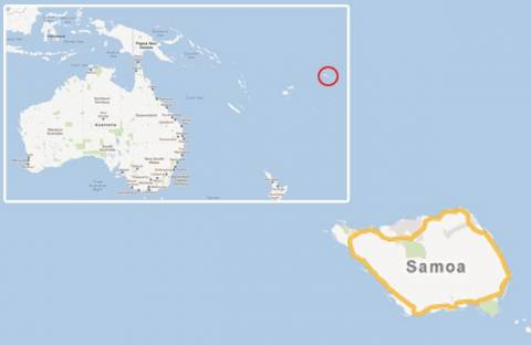 Η 21 Δεκεμβρίου 2012 ήδη έφθασε στα νησιά Σαμόα