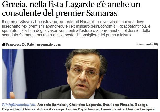 Ιταλική εφημερίδα μιλά για εμπλοκή πολιτικών στη λίστα Λαγκάρντ