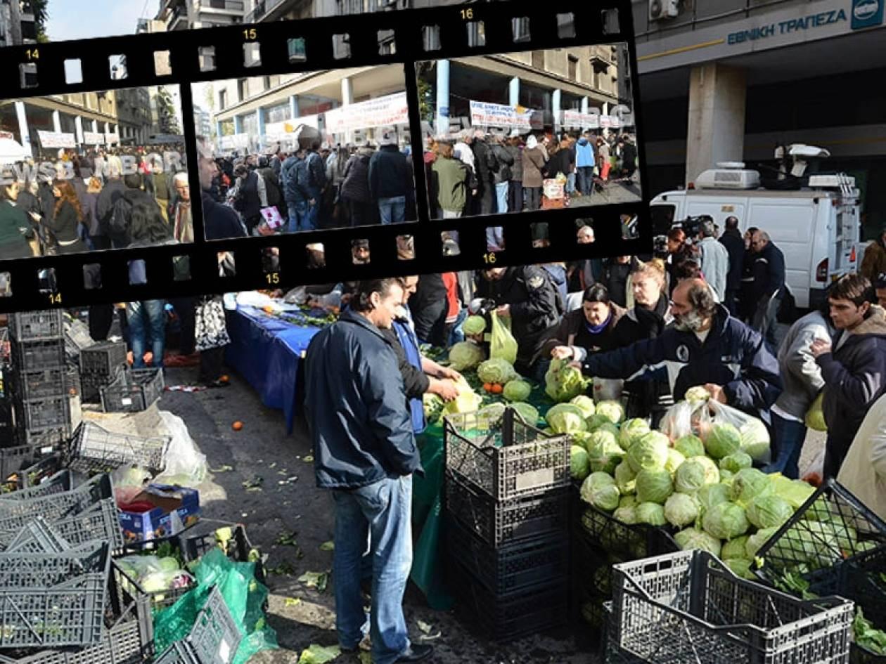 Παραγωγοί μοίρασαν 50 τόνους λαχανικών έξω από το Υπ.Ανάπτυξης