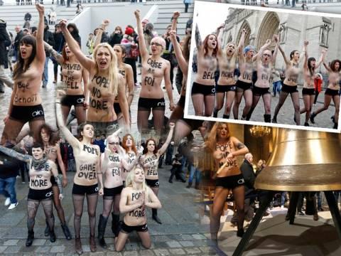 Οι FEMEN γδύθηκαν (ξανά) για την παραίτηση του Πάπα