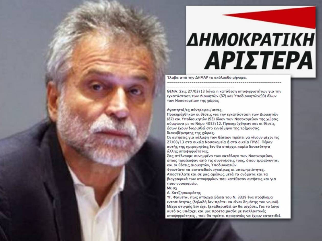 Ο Χατζησωκράτης σε άγρα «ημετέρων» για προσλήψεις  διευθυντών