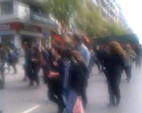 Θεσσαλονίκη: Πορεία συμπαράστασης στους δύο συλληφθέντες (video)