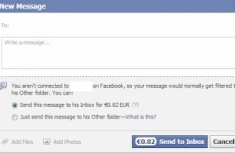 Το Facebook ξεκίνησε να χρεώνει 0,82 cents τα εξερχόμενα μηνύματα!