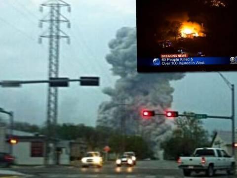 Βίντεο:Δεκάδες νεκροί από την έκρηξη σε εργοστάσιο λιπασμάτων στις ΗΠΑ