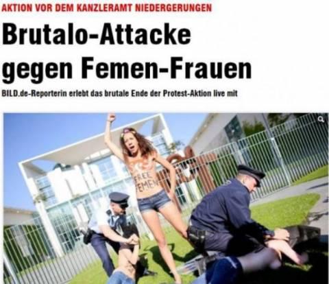 Ακτιβίστριες της Femen έδειξαν τα στήθη τους στην Μέρκελ (pics)