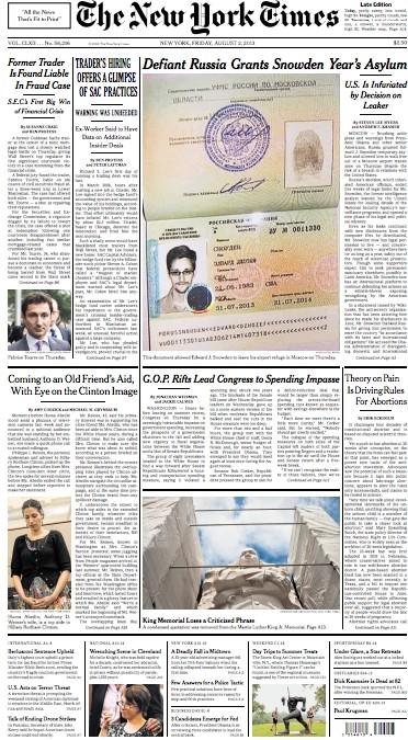 Πρωτοσέλιδο στους New York Times η ρωσική βίζα του Σνόουντεν (pic)