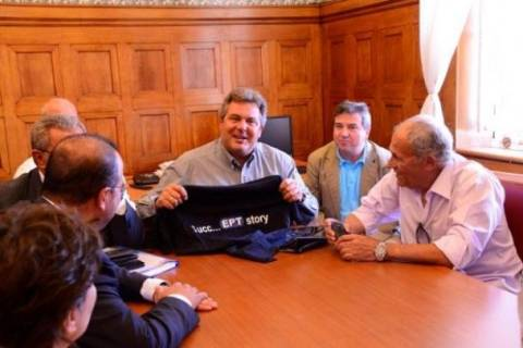 Συνάντηση Καμμένου με εκπροσώπους εργαζομένων της ΕΤ3