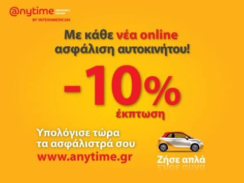 Anytime:Οnline ασφάλιση αυτοκινήτου πιο εύκολα από ποτέ με έκπτωση 10%