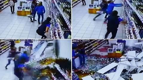 Δείτε το βίντεο που σαρώνει: Απίστευτο ατύχημα σε σούπερ-μαρκετ