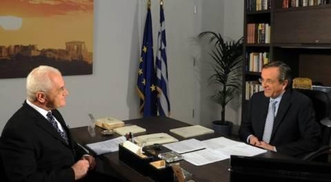 Σε σύσκεψη ο Σαμαράς την ώρα της συνέντευξης στο MEGA