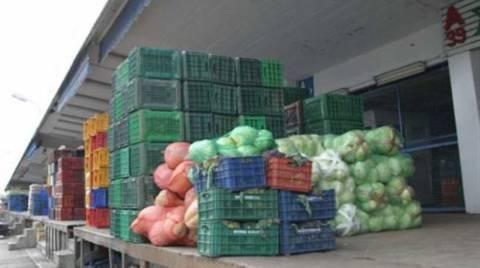 Δέσμευση λαχανικών αγνώστου προελεύσεως στη Λαχαναγορά του Ρέντη