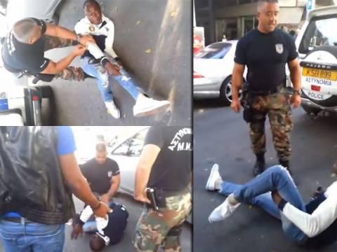 ΕΙΚΟΝΕΣ ΣΟΚ - Αστυνομικός τραυματίζει μετανάστη στο πόδι (video)