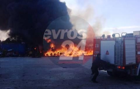 Στις φλόγες εγκαταλελειμμένο εργοστάσιο στις Φέρες (βίντεο)