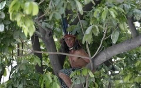 Βραζιλία: Κατέβηκε από το δέντρο ο Ινδιάνος που διαμαρτυρόταν