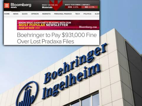 Boehringer Ingelheim: Πρόστιμο-μαμούθ για την υπόθεση Pradaxa