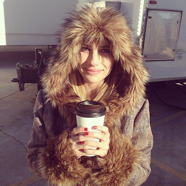 Emma-Roberts-bundled-up-hot-coffee-set-American-Horror-Story-Coven