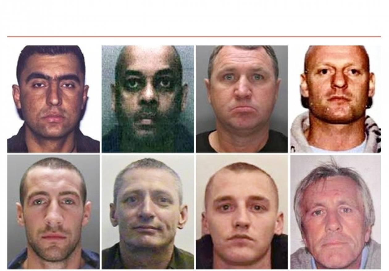 Καταζητούνται 8 εγκληματίες-δραπέτες από φυλακές της Αγγλίας