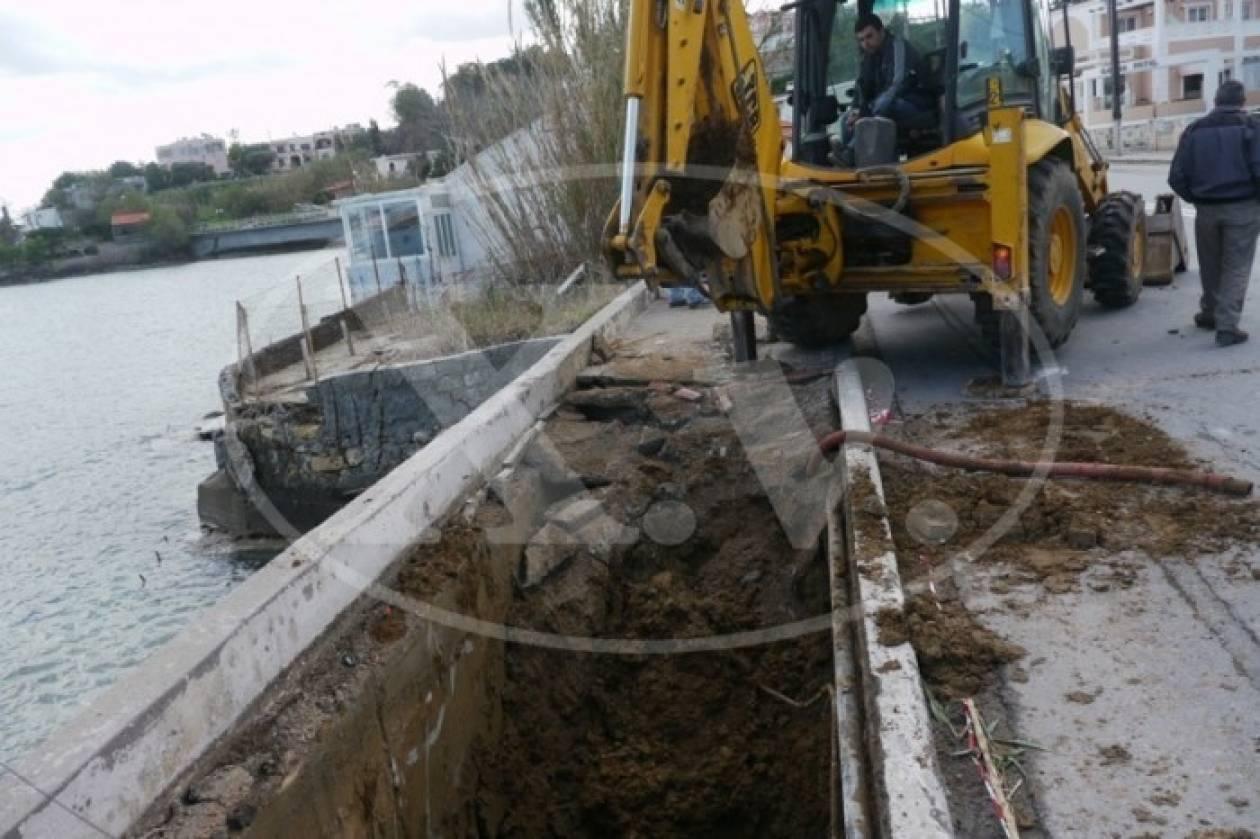 Κρήτη: Καθίζηση του οδοστρώματος στην παλιά Ε.Ο. Χανιών