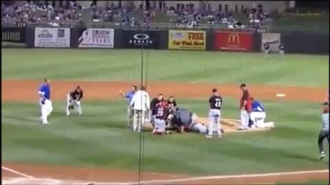 Σοκαριστικός τραυματισμός σε αγώνα μπέιζμπολ (video)
