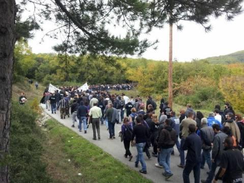 Πορεία διαμαρτυρίας στις Σκουριές