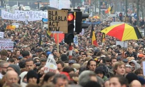 Επεισοδιακή διαδήλωση κατά των πολιτικών λιτότητας στις Βρυξέλλες