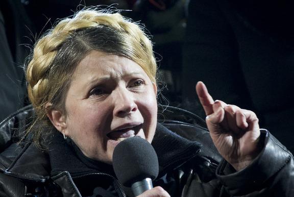 Ukrainian former prime minister Yulia Tymoshenko addresses the crowd in central Kiev