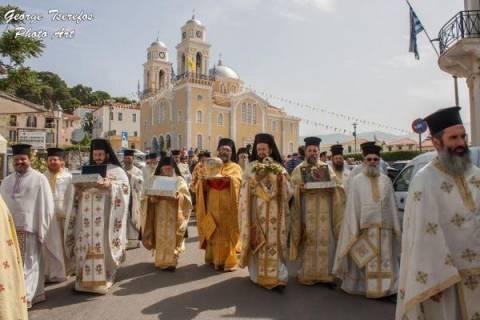 Yποδοχή της Τιμίας Κάρας του Αγ. Ιεροθέου από το Αγ. Όρος