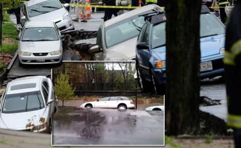 Απίστευτες εικόνες: «Άνοιξε» η γη και κατάπιε δεκάδες αυτοκίνητα