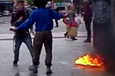 Ηρωικός έφηβος έσωσε άνδρα από αυτοπυρπόληση! (video)