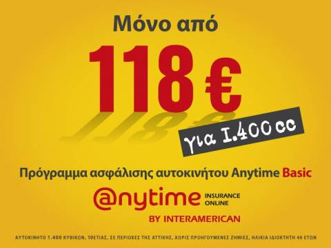 Anytime Auto Basic: Ασφάλεια αυτοκινήτου μόνο από 118 ευρώ το εξάμηνο